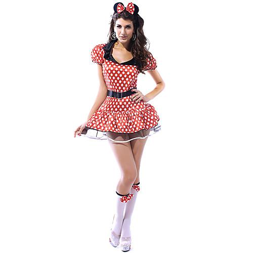 милые и сексуальные красные горошек спандекс женщин платье мышь костюм (3 шт) Lightinthebox 858.000