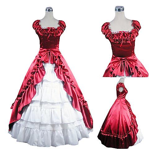 Без рукавов длиной до пола, красный и белый атласные платья Лолита Aristocrat