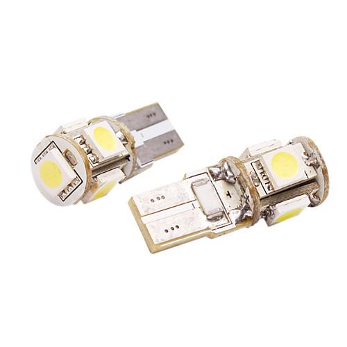 T10 Car Light с 5 светодиодами (в паре, 5050, 1W, Световой поток (LM) 60, цветовая температура 6000-6500K, 12V, Белый Свет) Lightinthebox 192.000