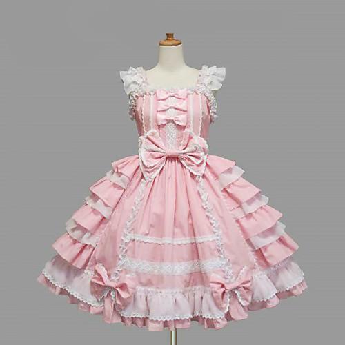 Без рукавов длиной до колен Розовое Хлопок White Lace Сладкие платья Лолита