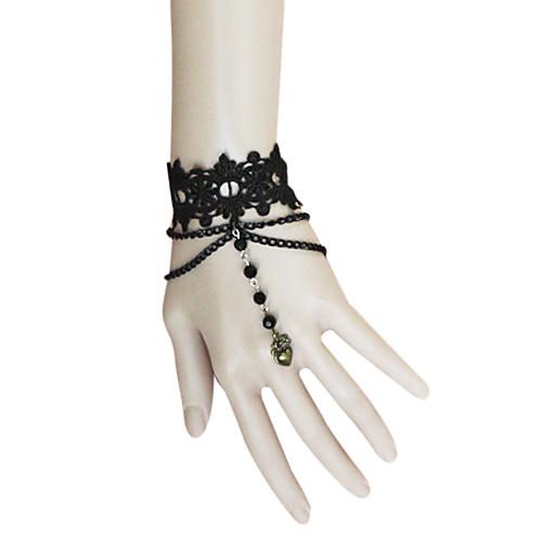 Handmade цветочные кружева черного бисера струнного Gothic Lolita браслет Lightinthebox