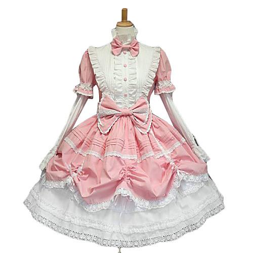 Футболки с длинным рукавом Puff рукавом длиной до колен Розовый Белый Сладкая Лолита платье с Cute Лук