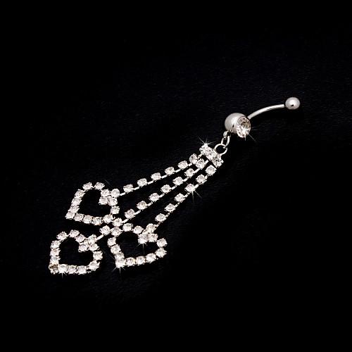 Очаровательная нержавеющая сталь Сладкий дизайн сердца Кристалл живота кольцо Lightinthebox 162.000