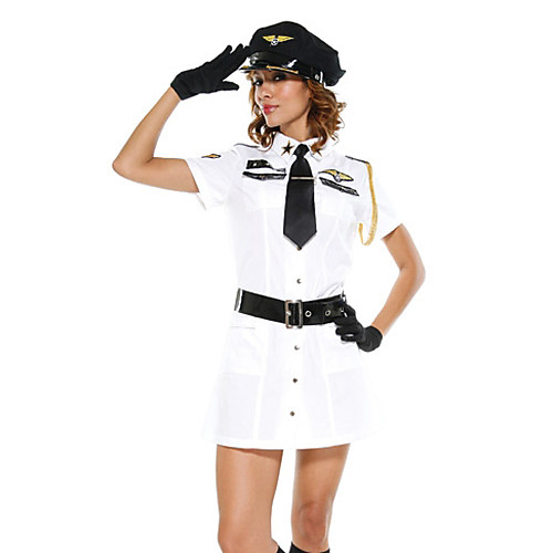 Необычные Белый Авиакомпания полиции Платье Хеллоуин костюм (5 шт) Lightinthebox 858.000