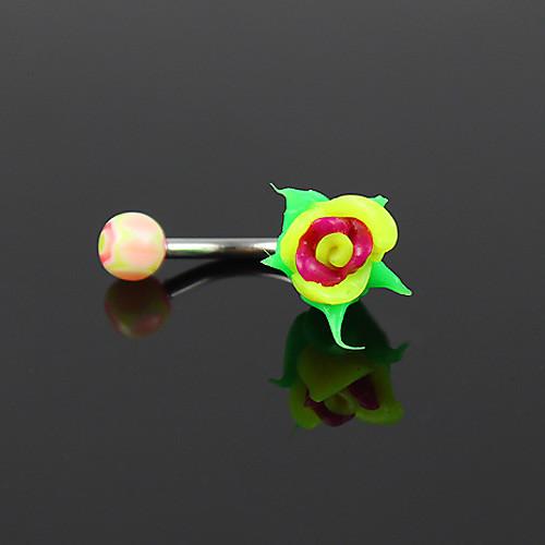 посеребренной нержавеющей стали цветка пупка / прокалывание ушей (ассорти цветов) Lightinthebox 128.000