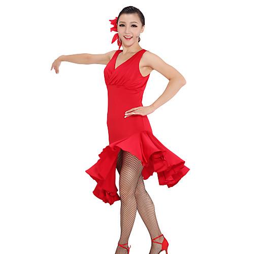 Платье для латинских танцев с рюшами и V-образным вырезом Lightinthebox 1503.000