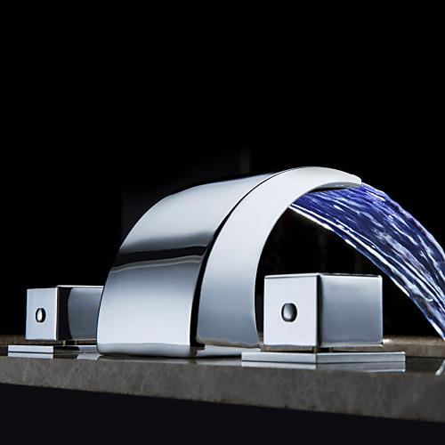изменение цвета привело водопад Широкое кран раковины ванной комнаты (хромированная отделка) Lightinthebox 3402.000
