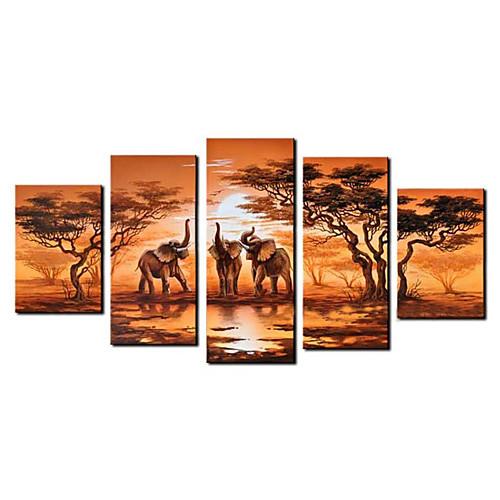 Ручная роспись маслом животных Большой широкий набор из 5 Lightinthebox 6273.000