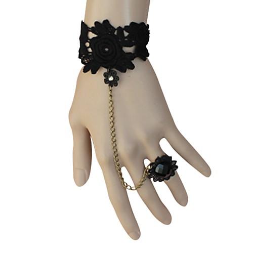 Черные классические цветочные кружева Лолита браслет с цветком кольцо