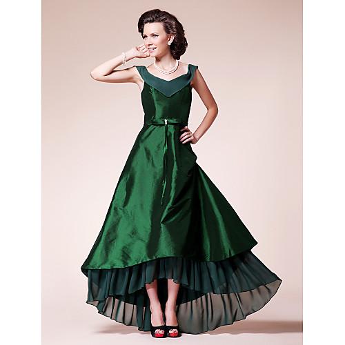 Платье для дам вечернее ассиметричное  из шифона и тафты, силуэт трапеция Lightinthebox 4253.000