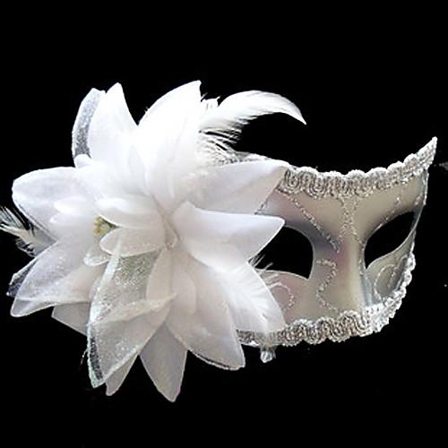 Белый Пряжа цветочным узором пластиковые пол-лица маски Lightinthebox 171.000