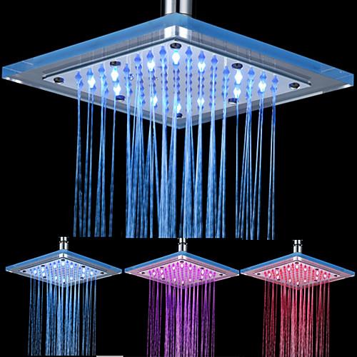 8-дюймовые 12-LED площади акриловые потолочные насадка для душа (разных цветов) Lightinthebox 2148.000