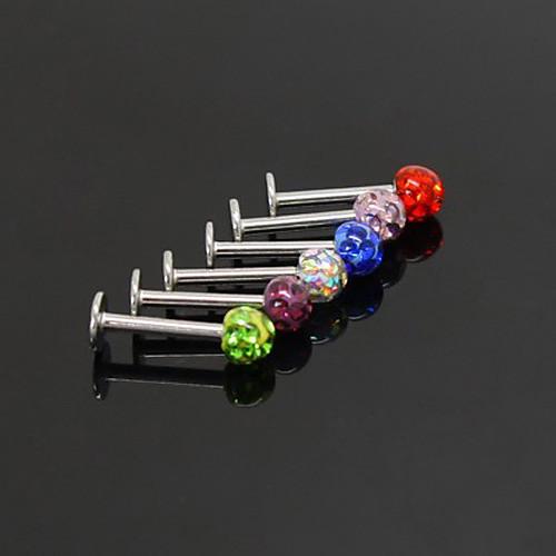 посеребренной нержавеющей стали пупка / прокалывание ушей (ассорти цветов) Lightinthebox 128.000