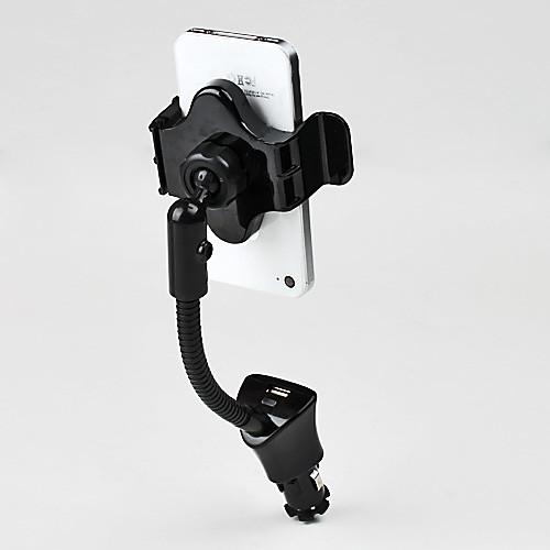 Вращающийся на 360 град. авто держатель с USB зарядкой для iPhone и Samsung Galaxy S3 I9300 Lightinthebox 687.000