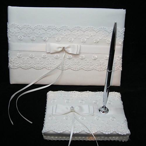 элегантной свадьбы гостевая книга и перо набор с кружевом