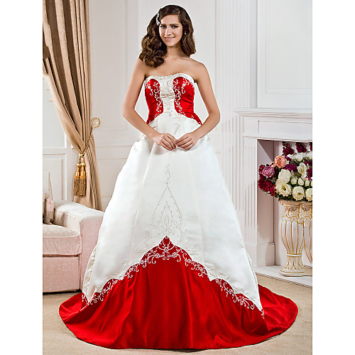 Платье свадебное из атласа, силуэт трапеция Lightinthebox 7605.000