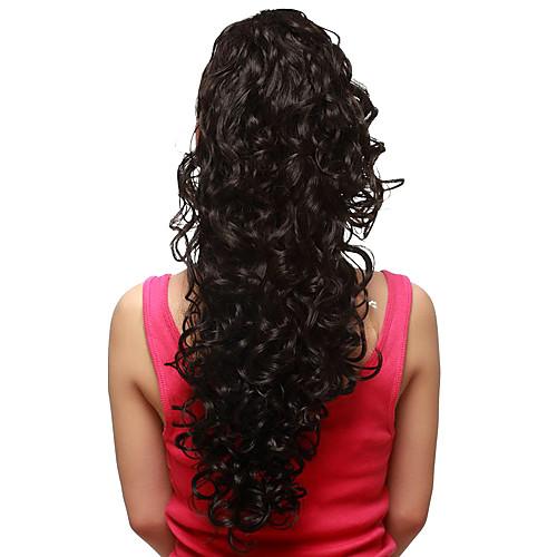 коготь клип синтетических волнистых дополнительные длинные черные волосы, хвостики части Lightinthebox 773.000