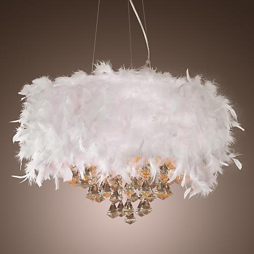 Хрустальная люстра с перьями на 3 лампы Lightinthebox 6874.000