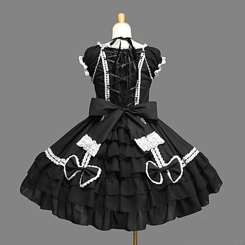 Без рукавов длиной до колен черного хлопка Аристократ Лолита платье Lightinthebox 3007.000