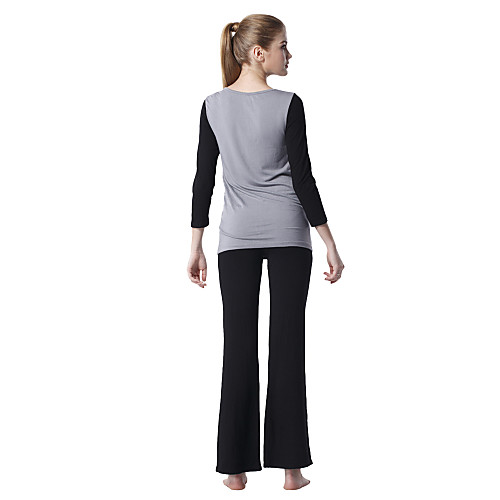 Японский костюм для йоги: топ с длинными рукавами черного цвета с серыми полосами  черные штаны Lightinthebox 1159.000