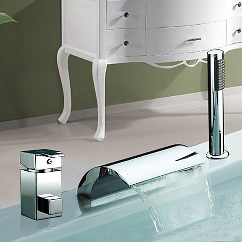 Хромированная отделка Водопад Широкое Две ручки современного смесителя ванна с Handshower Lightinthebox 8164.000