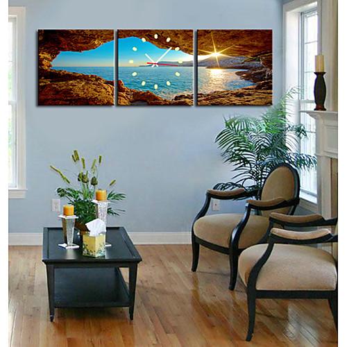 Часы настенные из 3 холстов с изображением морского пейзажа Lightinthebox 1718.000