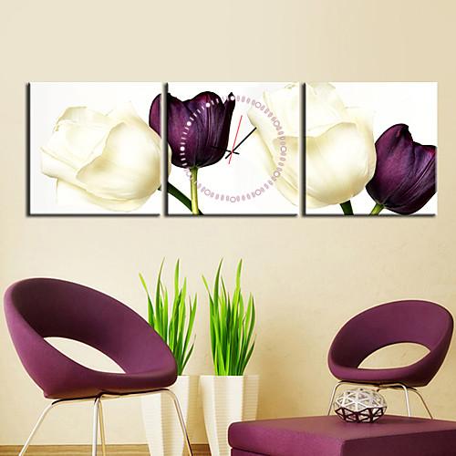 Часы настенные аналоговые из 3 полотен с изображением тюльпанов Lightinthebox 2577.000