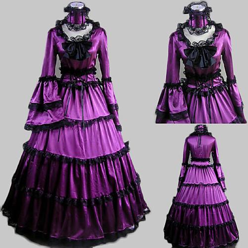 Футболки с длинным рукавом длиной до пола, атласные Фиолетовый Аристократ Лолита платье Lightinthebox 3437.000