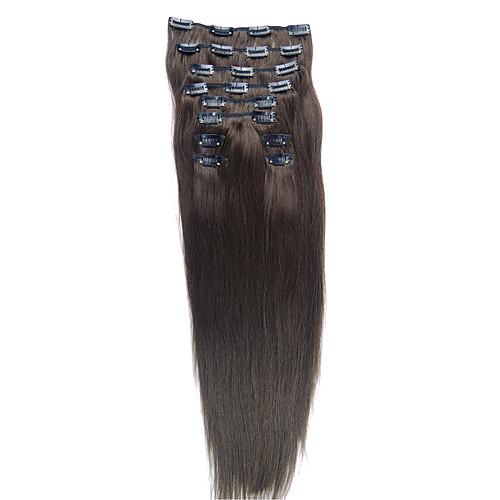 24-дюймовые 10 шт 100% индийский Реми волосы шелковистые прямые клип в наращивание волос Lightinthebox 5156.000