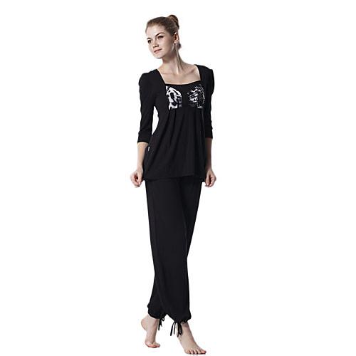охрана окружающей среды хлопка с длинным рукавом модель спортивного йоги костюм (черные вершины  черные брюки) Lightinthebox 987.000