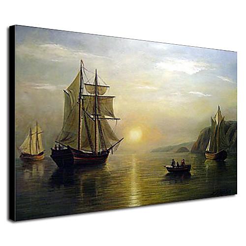Ручная роспись маслом Картина Закат Спокойствие в заливе Фанди Пейзаж Уильяма Брэдфорда Lightinthebox 4296.000