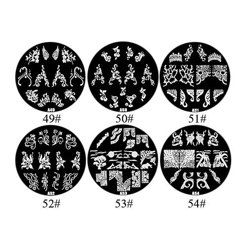 1PCS Цветы 2D металла Nail Art Stamp Изображение плиты (разных цветов, № 49-54) Lightinthebox 85.000