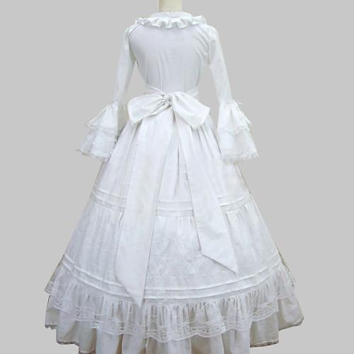 Футболки с длинным рукавом длиной до пола, белый хлопок принцессы Лолита платье Lightinthebox 3437.000