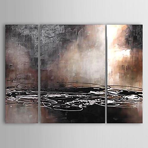 ручная роспись абстрактной живописи маслом с натянутой рамы - набор из 3 Lightinthebox 5156.000