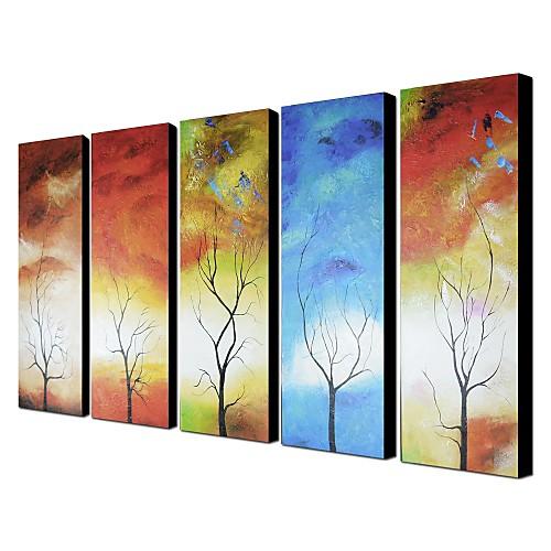 Ручная роспись маслом Пейзаж Большой широкий набор из 5 Lightinthebox 6445.000