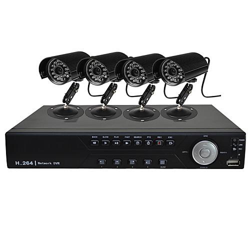4-канальный HD DVR Kit с 4-канальная запись D1 и 4 канала 600TVLine CMOS камера Lightinthebox 6144.000