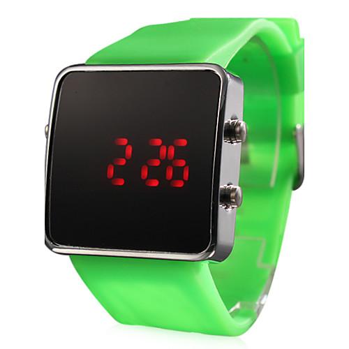 силиконовой лентой женщин мужчин унисекс желе спортивный стиль квадратных привело наручные часы - зеленый Lightinthebox 128.000