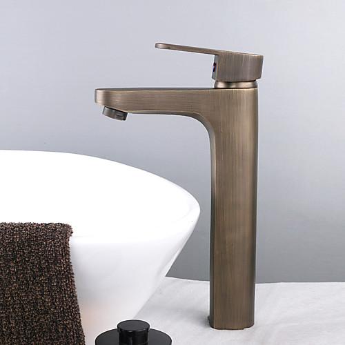 одной ручкой Centerset раковины ванной кран античный латунь отделка (высотой) Lightinthebox 4296.000