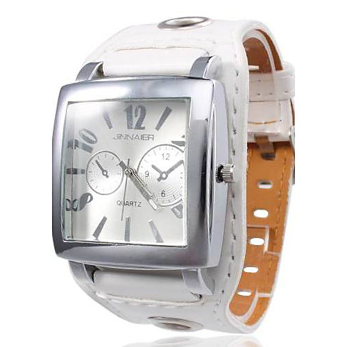 унисекс квадратный корпус белый циферблат широкий PU Группа Кварцевые наручные часы Lightinthebox 300.000