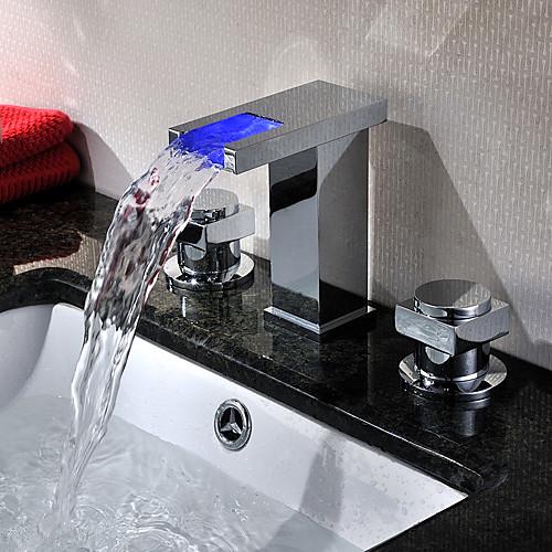 Двухзахватный хромированный смеситель-водопад с LED-подсветкой разных цветов для ванной комнаты Lightinthebox 5413.000