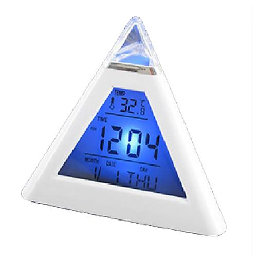 Белые цифровые часы с разноцветной подсветкой. Есть будильник, календарь, термометр (3xAAA) Lightinthebox 343.000