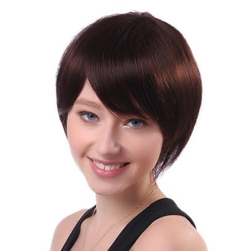 Монолитным коротких Brown Прямой 100% человеческий волос парики