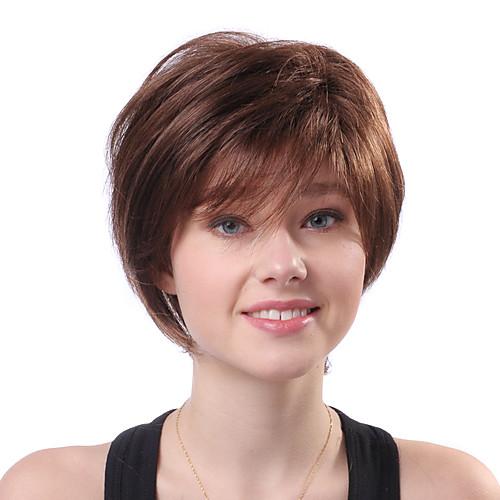 Монолитный парик из 100% натуральных человеческих волос коричневого цвета (короткая прическа) Lightinthebox 2040.000