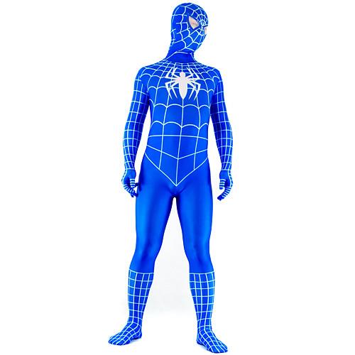 Сине-белый лайкровый костюм на все тело