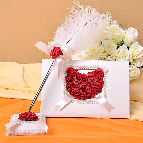 Белая книга гостей свадьбы и перо перо установить с лепестками роз Lightinthebox 953.000