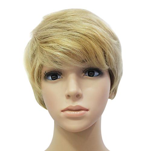 Монолитным 100% человеческих волос Золотой короткий прямой парик волос Lightinthebox