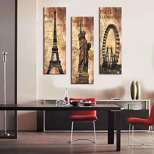 натянутым холстом печати старинная архитектура Эйфелева башня, Статуя Свободы и Ла-Гранд-развратник набор 3 1301-0215 Lightinthebox 3007.000