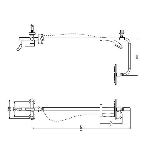 Современные Ti-PVD отделка смесителей настенного крепления латунь душем Lightinthebox 12375.000