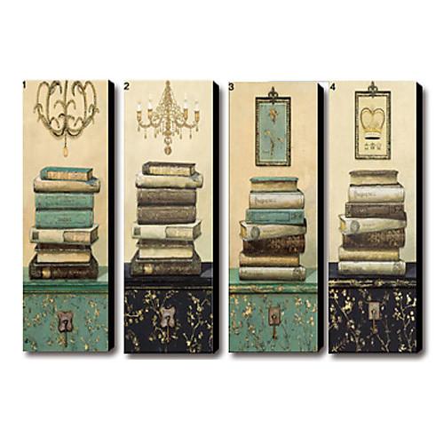 натянутым холстом печати старинный натюрморт книг Набор 4 1301-0214 Lightinthebox 3437.000