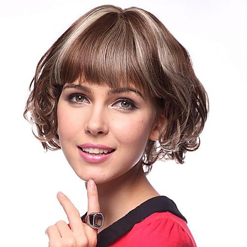 Монолитный парик из 100% натуральных вьющихся человеческих волос (прическа каре с рваной челкой)